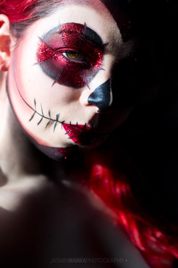 Red Glitter Sugar Skull for Halloween